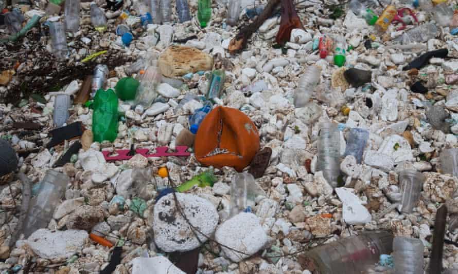 Plastic waste on a beach