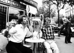 The celebrations continue on the streets of Paris the following day as Alan Kennedy and Thompson savour their victory