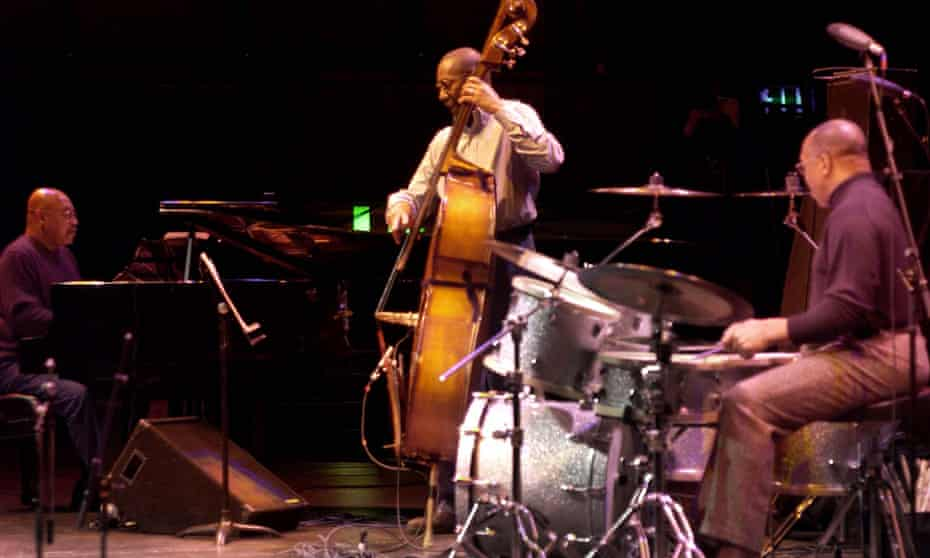 Kenny Barron, far left, and his jazz trio in concert.