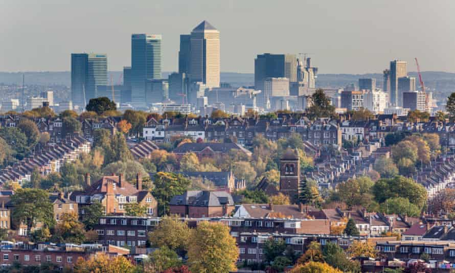 The estate we're in … London Docklands seen from Hornsey and Crouch End.