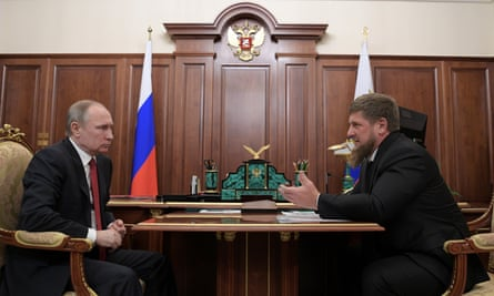 The Russian presiden, Vladimir Putin, with Ramzan Kadyrov, the head of the southern Russian region of Chechnya, at the Kremlin in Moscow.