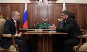 Vladimir Putin meets Chechnya's Ramzan Kadyrov at the Kremlin in Moscow.