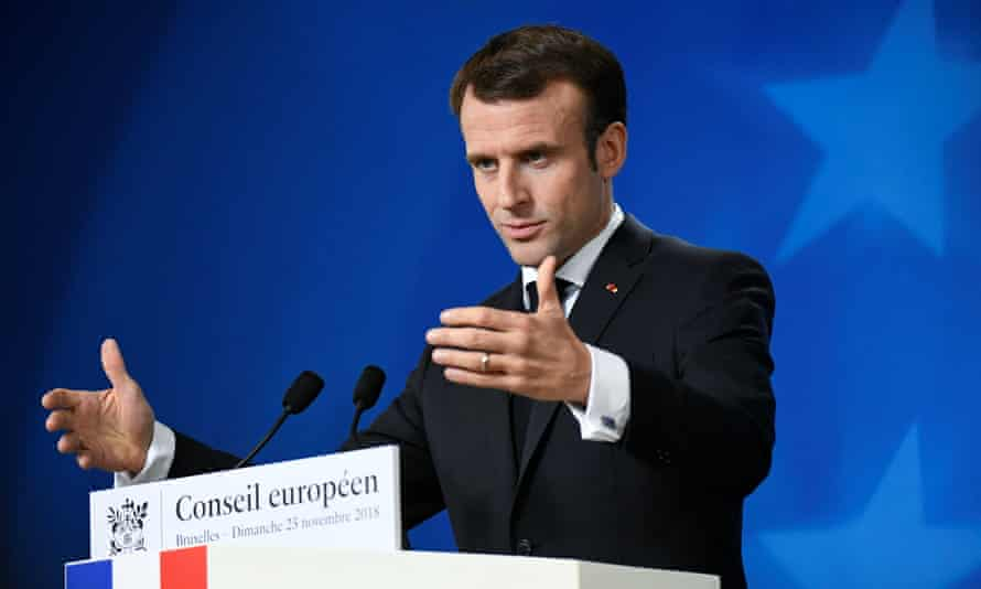 Emmanuel Macron at a news conference after the special EU summit.
