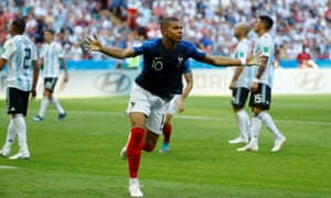France's Kylian Mbappe scores against Argentina in Kazan, Russia, on 30 June.