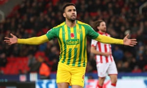 Hal Robson-Kanu celebrates scoring from the spot to give West Brom a 2-0 victory at Stoke.