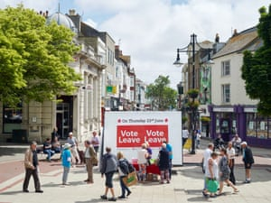 'Vote Leave' Campaign, South Street Square, Worthing, West Sussex, 15 June 2016Worthing voted to leave the European Union. At its heart, the Leave campaign was fuelled by a sense of betrayal among working-class voters in places that have long felt overlooked by what they see as a political and media elite in London. All my photographs deal with specifics – it's details and facts that matter. Landscape photography is all about generalisation, sweeping views and atmosphere. Mine are not. The photographs have to be read intently. They are incredibly layered documents.