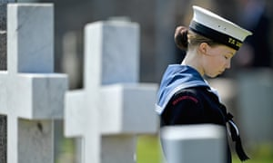 A sea cadet attends a service at a war graves cemetery to mark the Battle of Jutland on 28 May in South Queensferry, Scotland