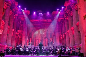 Maestro Harout Fazlian conducts rehearsals ahead of the Sound of Resilience concert inside the Temple of Bacchus at the historic site of Baalbek in Lebanon's eastern Bekaa Valley, on 4 July, 2020.