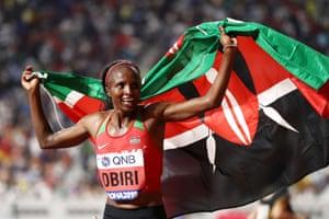 Hellen Obiri of Kenya celebrates winning gold.