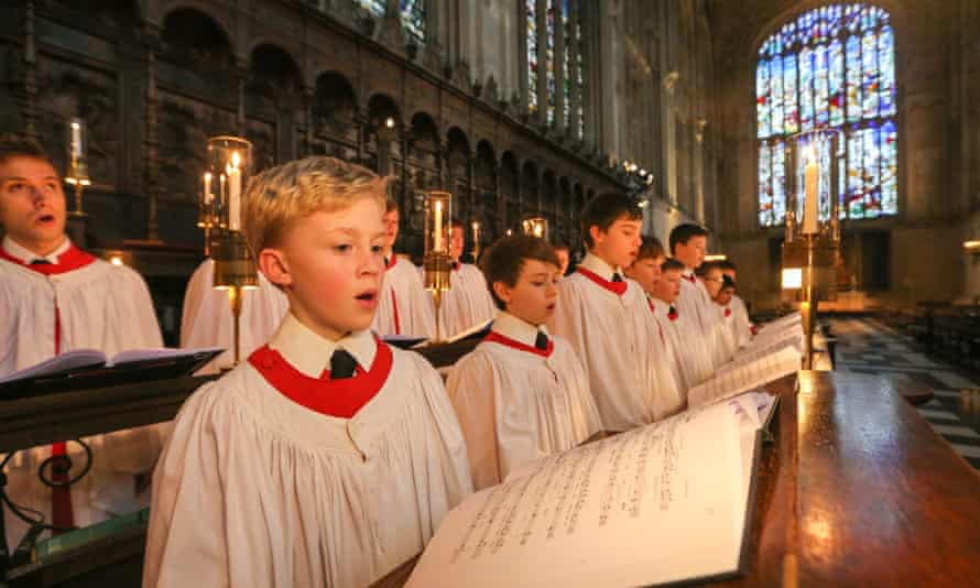 King's College choirboys prepare for the Christmas Eve service.