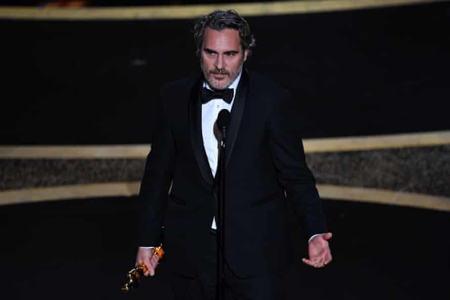 Joaquin Phoenix make's the night's most overtly political speech.