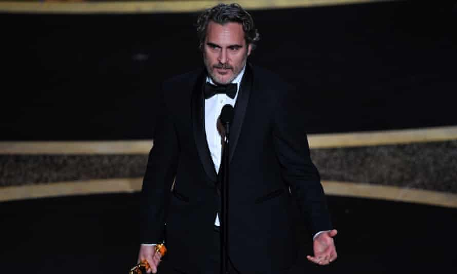 Joaquin Phoenix during his Oscars speech this month, in which he decried fact that people 'feel entitled to artificially inseminate a cow and steal her baby'.
