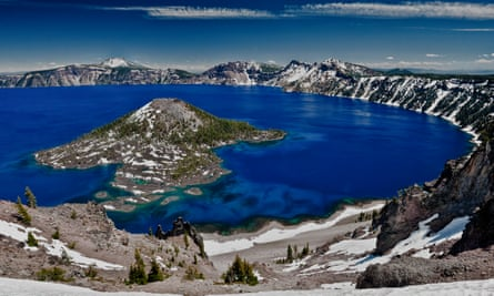 Crater Lake and Wizard Island, looking east toward Mount Scott on far side, Crater Lake National Park, Oregon, USA.