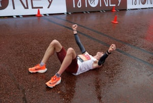 Patrick Herzog of Austria is jubilant after finishing in a personal best time.