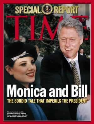 Monica Lewinsky and President Bill Clinton are shown on the cover of TIME's Feb. 2, 1998