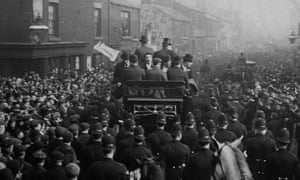The Sheffield United team return to a jubilant reception in their home city, having won the 1899 FA Cup final against Derby County the day before.