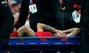 Philippe Coutinho is taken off on a stretcher after suffering ankle ligament damage during Liverpool's 2-0 victory over Sunderland at Anfield on Saturday