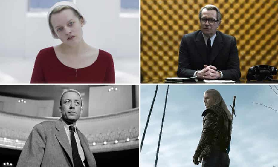 That's quarantainment … Elisabeth Moss in The Handmaid's Tale, Gary Oldman as George Smiley, Henry Cavill in The Witcher, and Albert Camus.