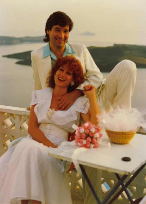 Jackie Rees and Phil Kafcaloudes wedding photo taken in Santorini on June 8, 1988.