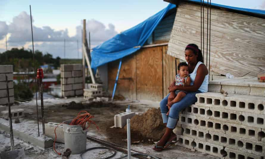 A home under reconstruction, after being mostly destroyed by Hurricane Maria, on in San Isidro, Puerto Rico.