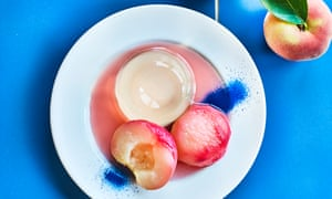 Poached white peaches with rosé wine jelly. Diana Henry Prop stylist Tamzin Ferdinando and food stylist Kim Morphew