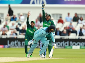 Pakistan arms go up, but Roy survives the LBW appeal.