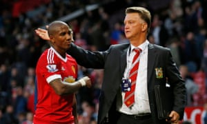 Ashley Young gets a pat on the head from Louis van Gaal after Manchester United's 3-1 win against Liverpool on Saturday.