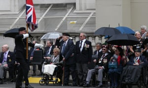 Veterans attend a VE Day service of remembrance at the Cenotaph on Whitehall.