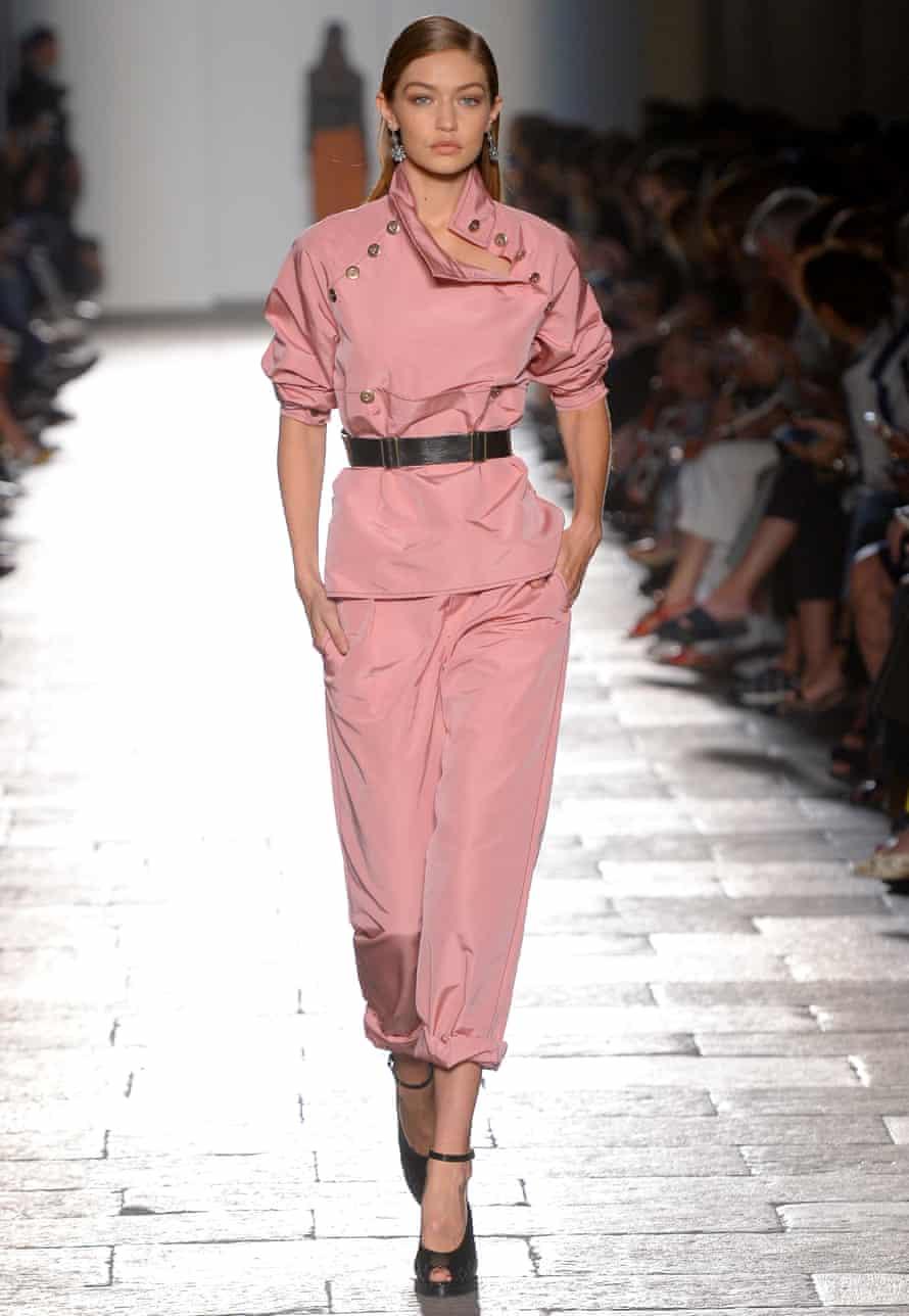 Gigi Hadid on the Bottega Veneta catwalk, SS17, Milan fashion week, September 2016