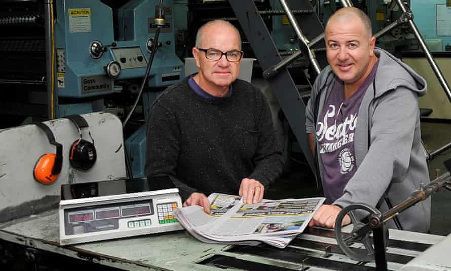 The Barrier Daily Truth's general manager Gavin Schmidt (left) and editor Michael Murphy. The Broken Hill newspaper was meant to suspend operation during the coronavirus crisis, but thanks to a rescue operation it has resumed publishing one day a week.