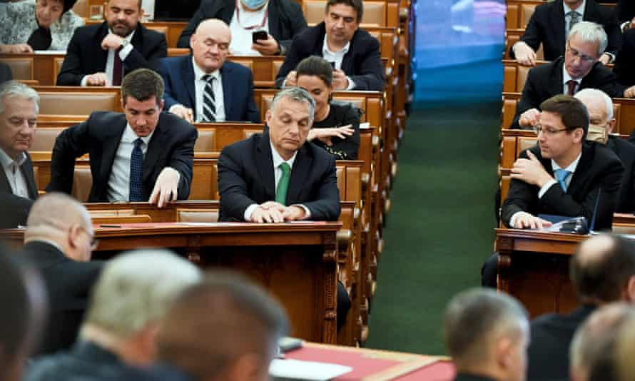 Hungarian prime minister, Viktor Orbán (centre), during a session in April of the country's parliament