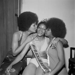 Miss Black & Beautiful Sybil McLean with fellow contestants, Hammersmith Palais, London, 1972