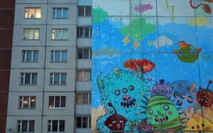 Gatchina, Russia A mural depicting viruses on a block of flats in Gatchina, some 20 km south of St Petersburg