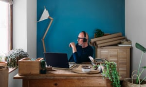 Middle aged man working from his home office