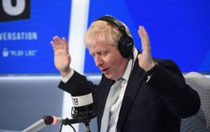 Boris Johnson taking part in a radio interview with Nick Ferrari at LBC in central London