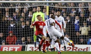 Souleymane Doukara scores Leeds' second goal with a fierce volley in the 2-0 win over Nottingham Forest at Elland Road