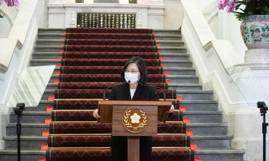 President Tsai Ing-wen makes a speech after the outbreak of Covid-19 in Taipei, Taiwan.