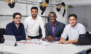 (from left to right) Prateek Mathur, Shivad Bhavsar, Rotimi Fadiya and Michael Takla, winner of the James Dyson Award.