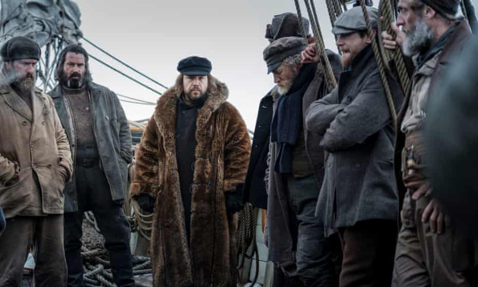 A whale of a time ... Colin Farell and Stephen Graham (second and third from left) and the crew of the Volunteer.