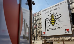 A giant sign outside Manchester Victoria station to mark the first anniversary of the Manchester Arena attack.