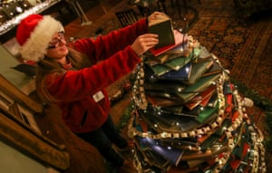 A Christmas tree made from books at Polesden Lacey, a National Trust-owned property near Dorking, England