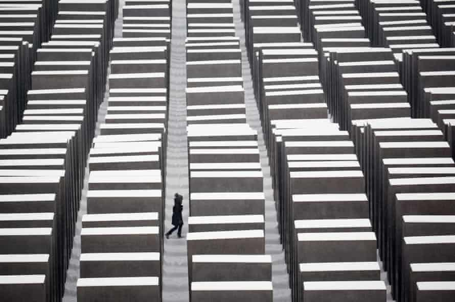 The Holocaust memorial in Berlin. Noting the role corporations played with past authoritarian regimes, Crawford invoked the example of IBM's role in enabling Nazi Germany track Jews during the Holocaust.