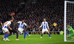 Jurgen Locadia of Brighton and Hove Albion smashes the ball home from close range.