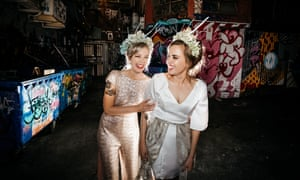 Teegan Daly, left, and Mahatia Minniecon at their midnight wedding by the Altar Electric at the Ferdydurke in Melbourne.