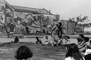 Chicksand Estate Mural and children playing 1987