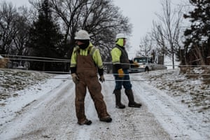 Local maintenance on power lines in front of Neil Shaffer's property in Cresco, Iowa.