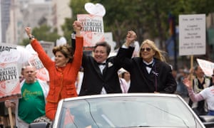 Allred holds hands with spouses Robin Tyler and Diane Olson as they take part in the 38th annual San Francisco LGBT pride parade on 29 June 2008.