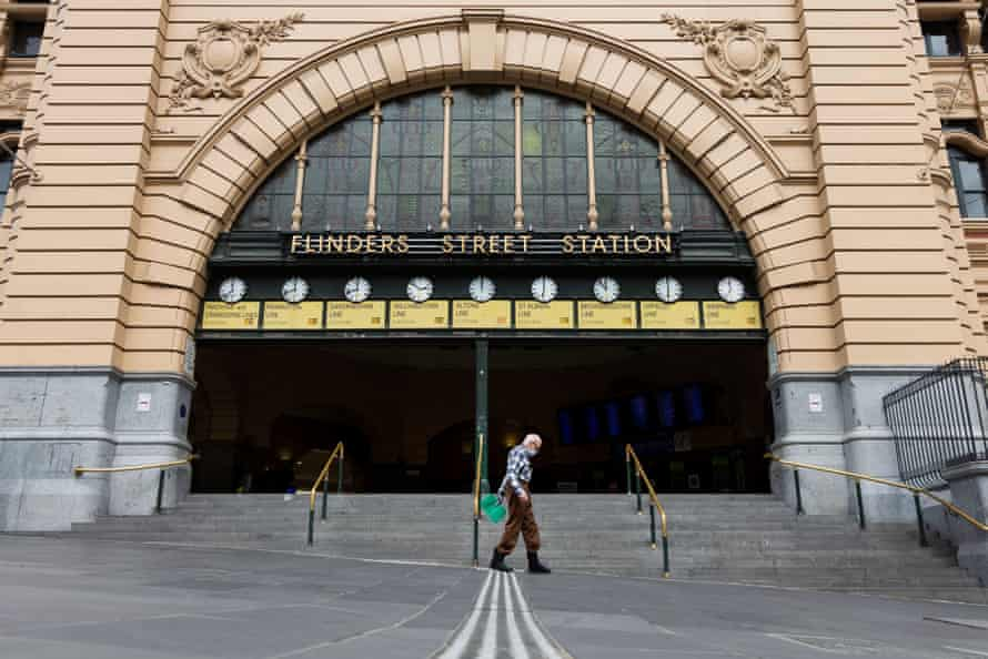 A view of Flinders Street Station during Covid-19 in Melbourne, Australia.