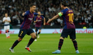 Philippe Coutinho's early opener was created by a sublime pass from Lionel Messi.