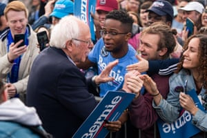 Bernie Sanders campaigning in Finlay Park, Columbia, South Carolina, today.